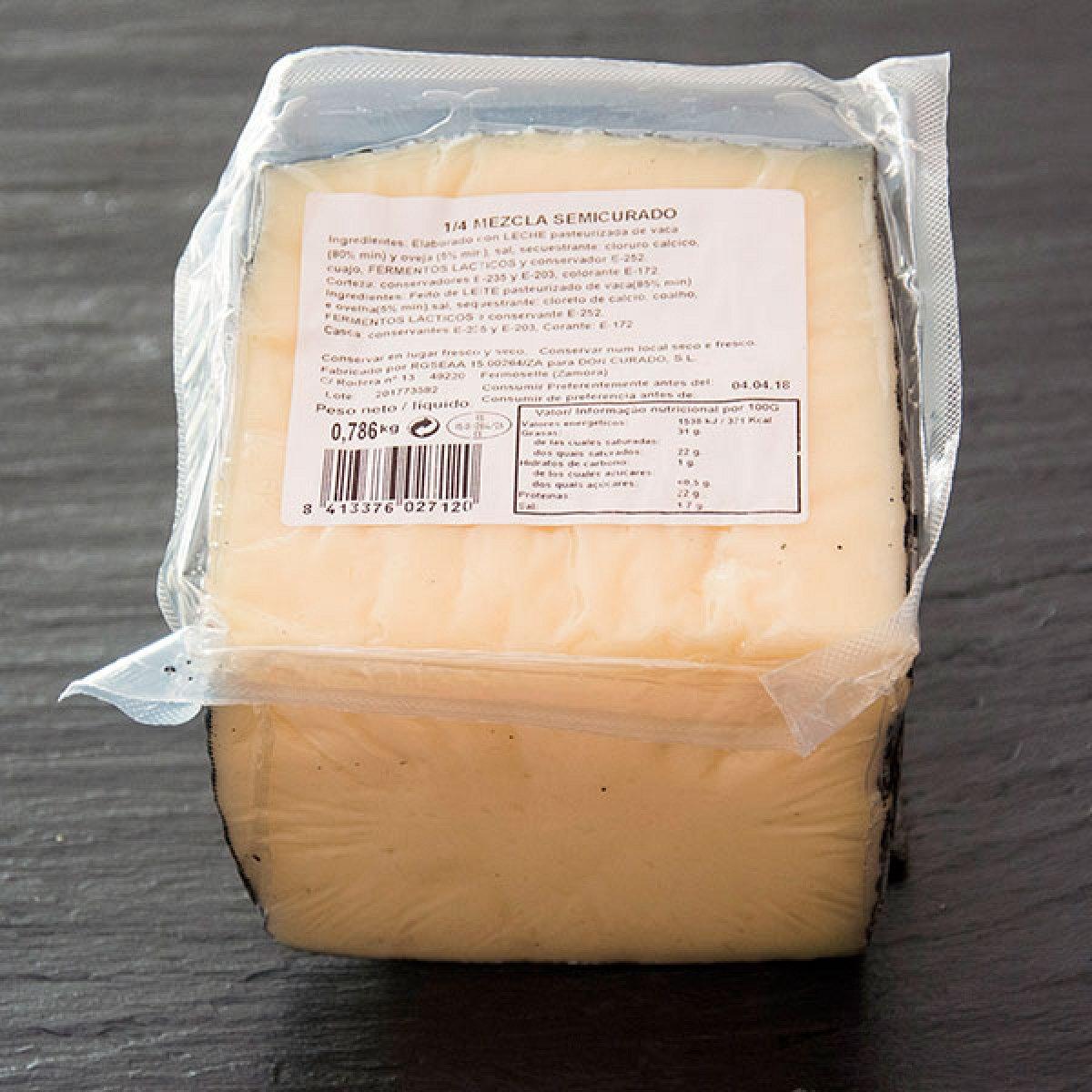 Cuña de queso de zamora de mezcla semicurado