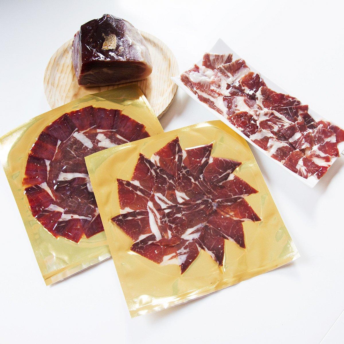 Jamón de bellota ibérico 50% raza ibérica CORTADO a cuchillo (cortador profesional)